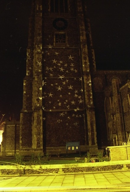 Art installation. Projection of starfish onto Cromer Parish Church by Liz McGowan and Margie Britz