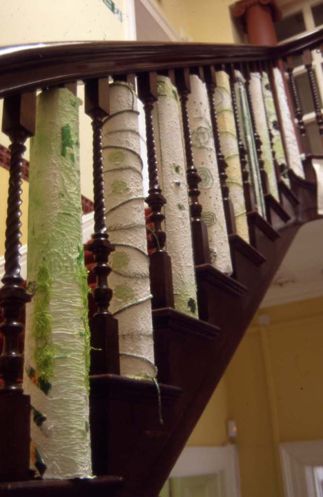 Recycled paper installation on hall staircase
